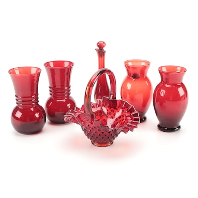 """Fenton """"Hobnail"""" Ruby Glass Basket with Anchor Hocking and Avon Vases"""