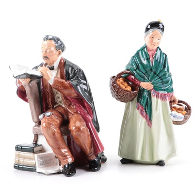 "Royal Doulton ""The Orange Lady"" and ""The Professor"" Bone China Figurines"