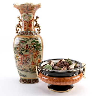 Chinese Satsuma Style Vase with Royal Court Scene and Ceramic Footed Bowl