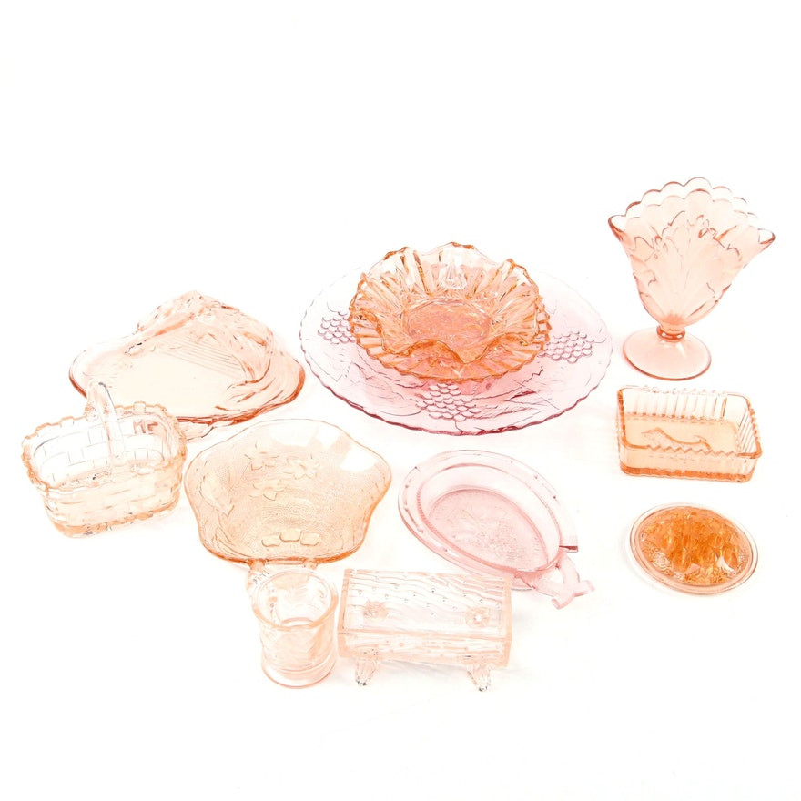 Paul Revere Glass Horseshoe Bowl and Other Pink  Depression Glass