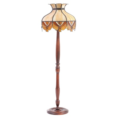 Cherrywood-Stained and Slag Glass Floor Lamp, 20th Century