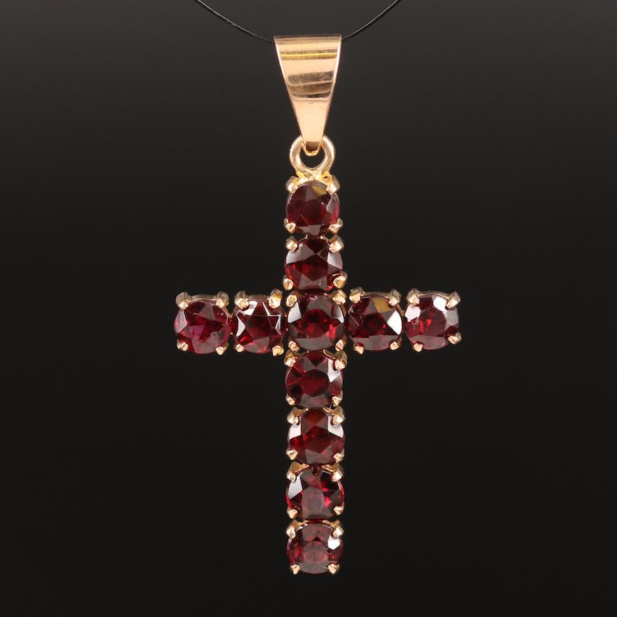 18K Garnet Cross Pendant