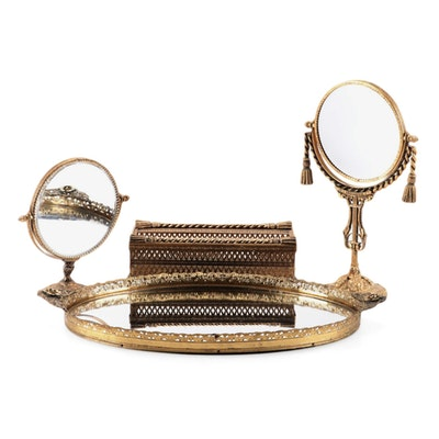 Hollywood Regency Style Gilt Vanity Accessories, Mid-20th Century