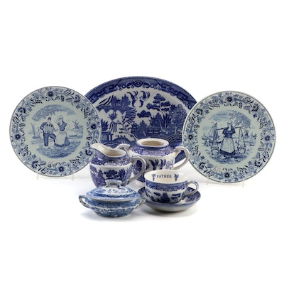 Royal Delft Boch Decorative Dishes with Other Blue and White Tableware