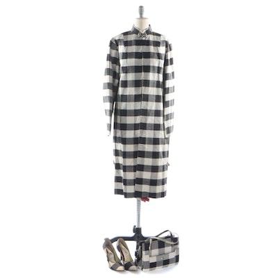 Black and White Checkered Silk Shantung Jacket, Pumps, and Handbag