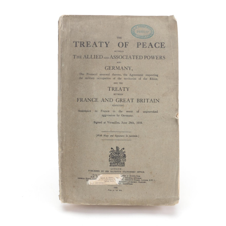 """""""Treaty of Versailles"""" Including Fold-Out Maps and Facsimile Signatures, 1923"""