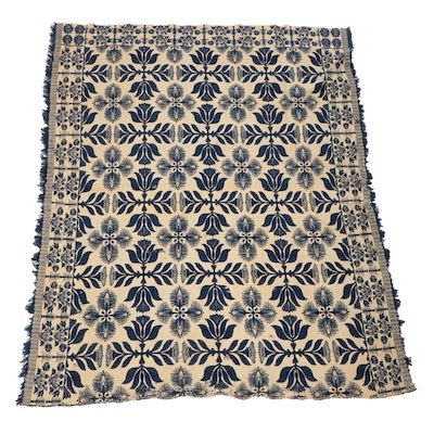 Handwoven Jacquard Coverlet, Late 19th to Early 20th Century