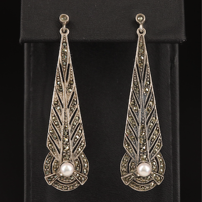 Judith Jack Sterling Pearl and Marcasite Elongated Feather Earrings