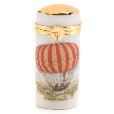 Artoria Hot Air Balloon Motif Porcelain Limoges Box