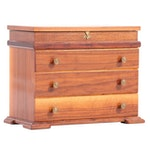Bench-Made Walnut Three-Drawer Lift-Top Jewelry Chest, Mid to Late 20th Century