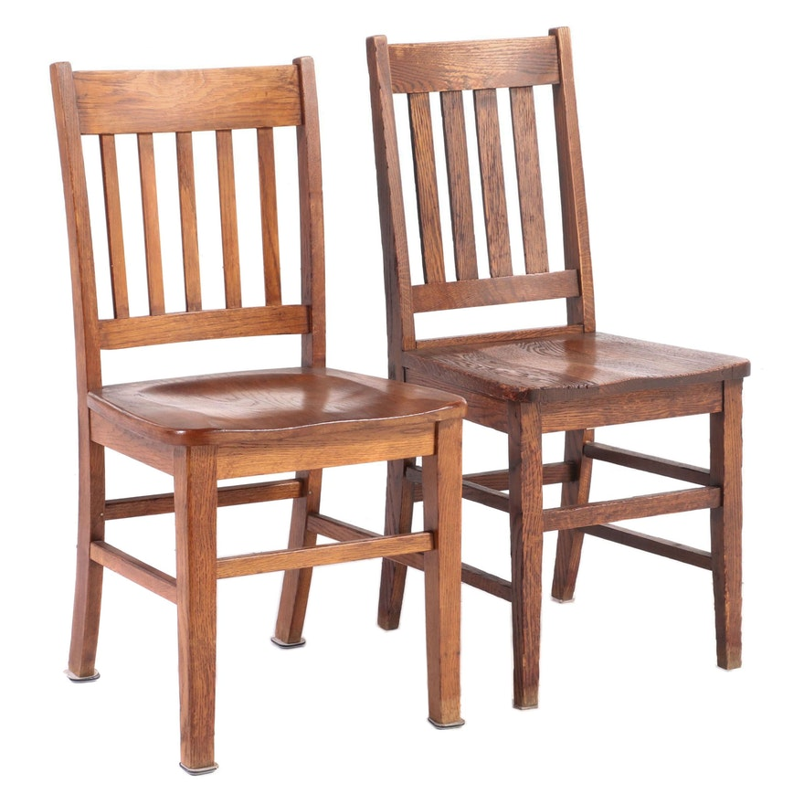 Two Arts and Crafts Oak Slat-Back Side Chairs, Early to Mid 20th Century