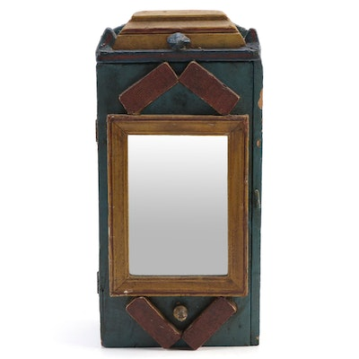 Folk Art Painted Wooden Mirrored Decorative Wall Cabinet, Early to Mid 20th C.