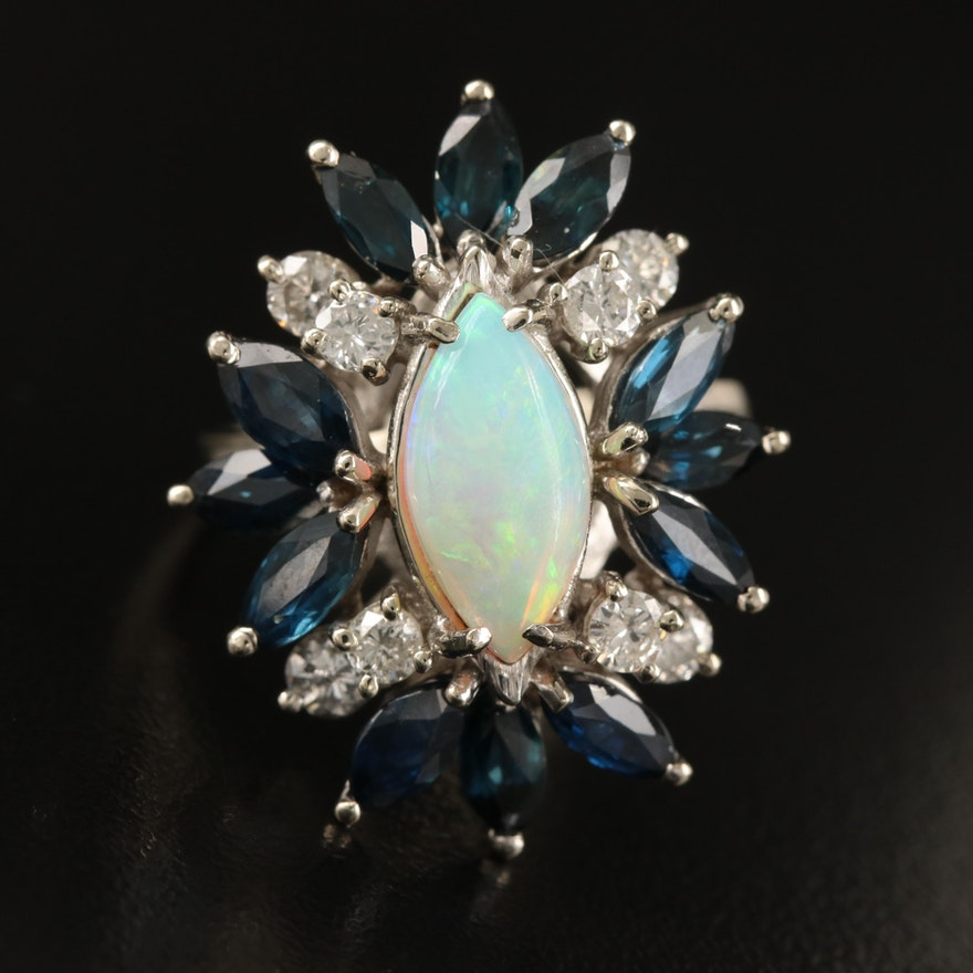 14K Opal, Sapphire and Diamond Ring