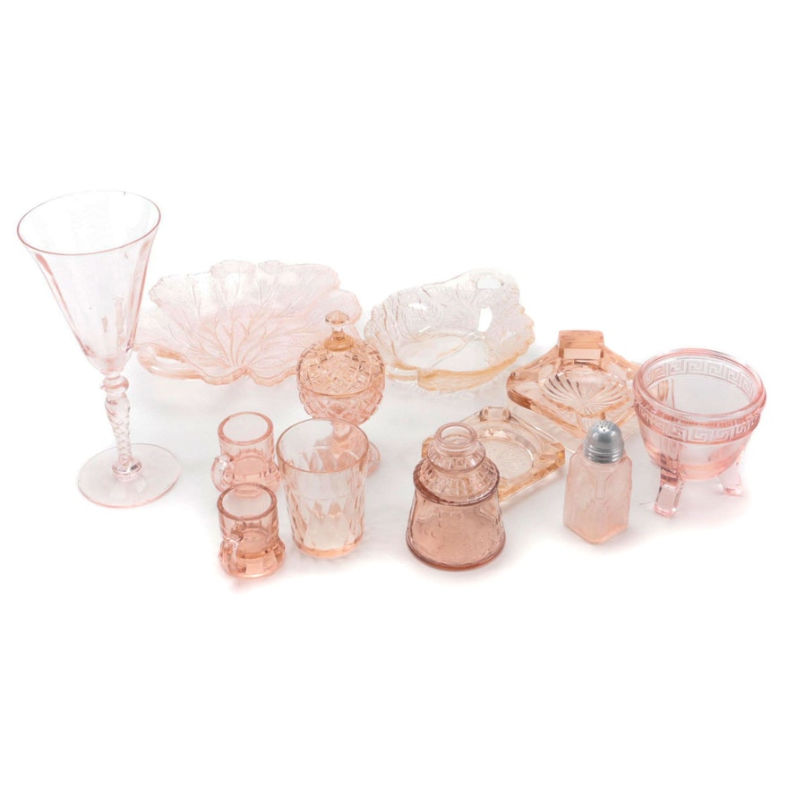 """Wheaton """"Cape May"""" Bitters Jar and Other Pink Depression Glass"""