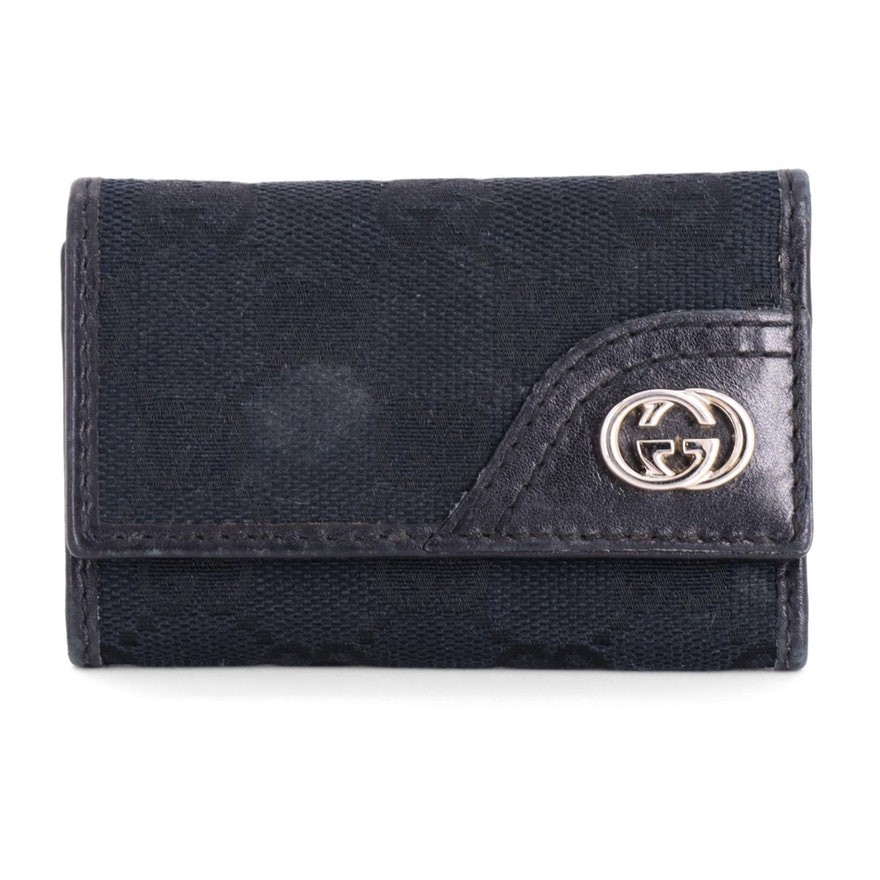 Gucci Black GG Canvas and Leather Six-Key Holder