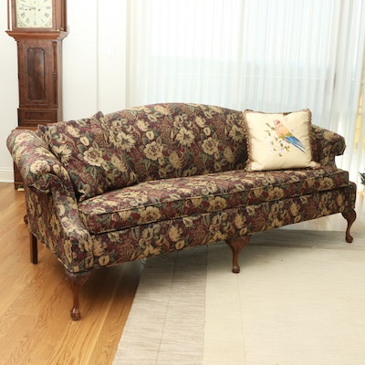 Rowe Floral Upholstered Camelback Sofa on Ball and Claw Mahogany Feet