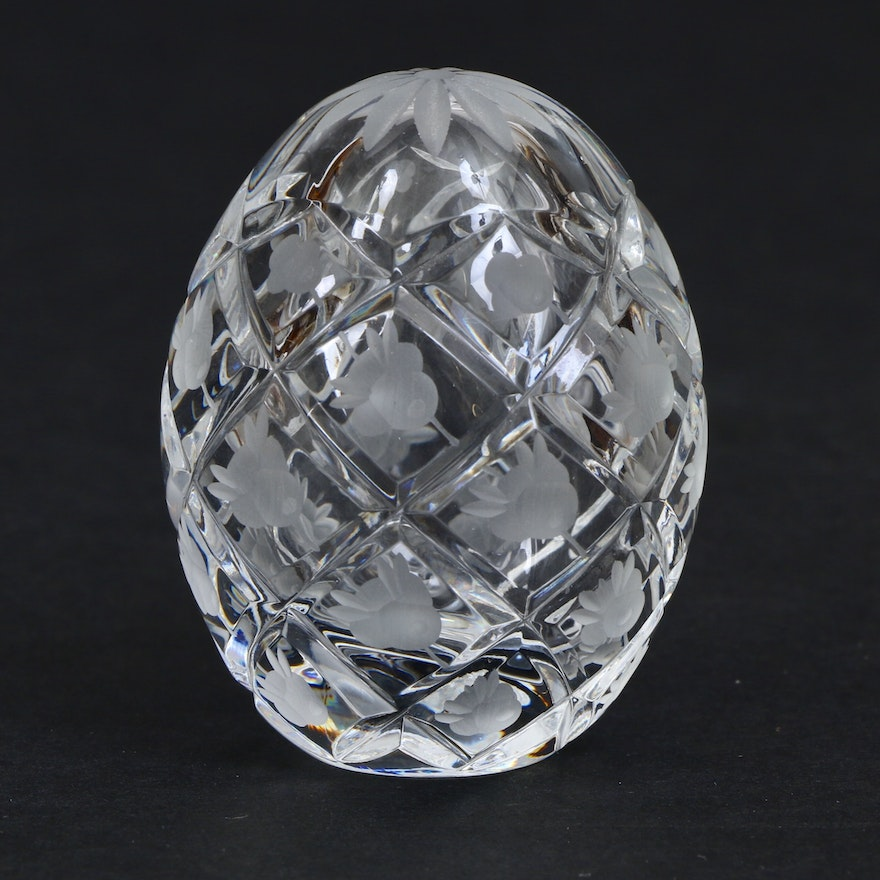 Fabergé  Etched Crystal Egg, Mid to Late 20th Century