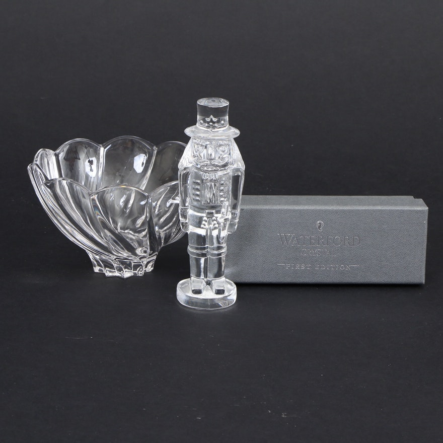 """Waterford """"The Nutcracker"""" Figurine and Marquis Crystal Candy Bowl"""