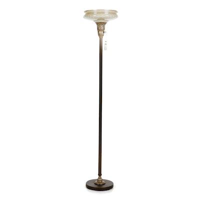 Art Deco Style Metal Torchiere Floor Lamp