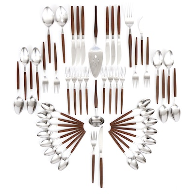 """Ekco Eterna """"Canoe Muffin"""" Stainless Steel and Wood Flatware and Serving Pieces"""