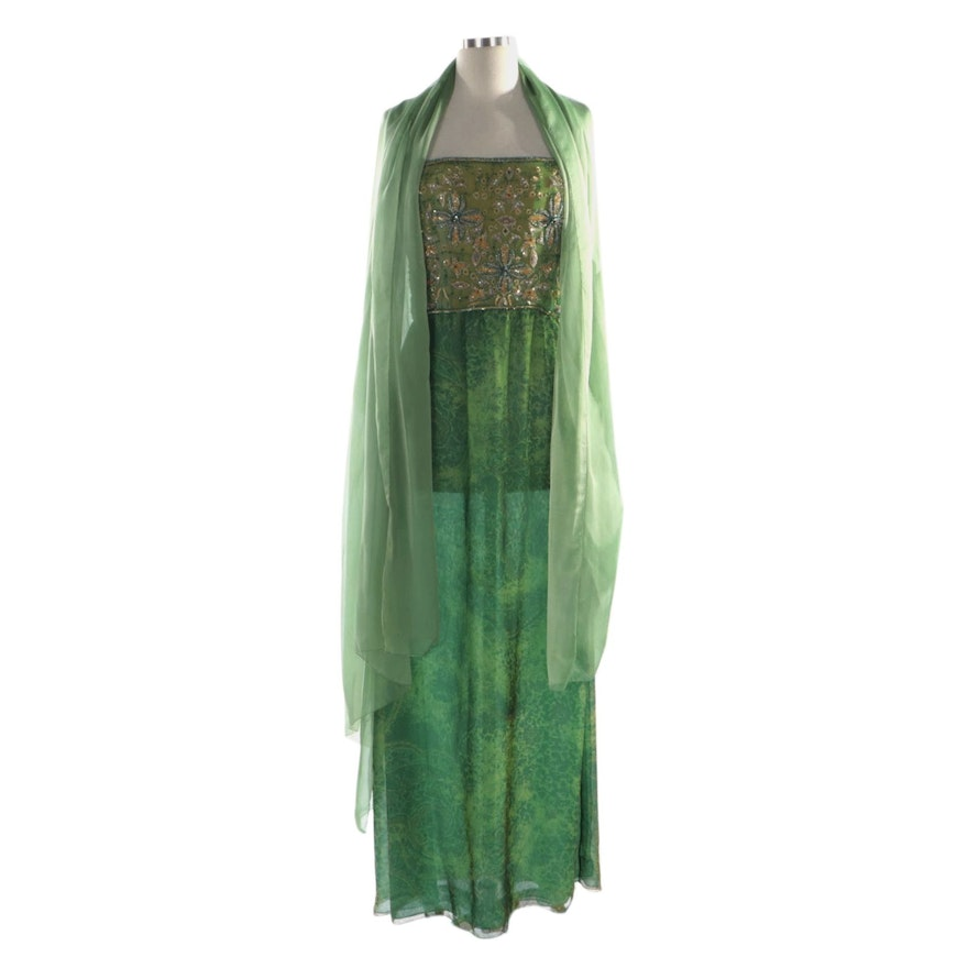 Mary McFadden Couture Embellished Strapless Paisley Printed Silk Gown and Wrap