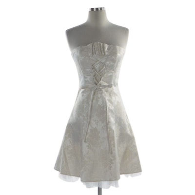 Jessica McClintock for Gunne Sax Floral Brocade Lace-Up Strapless Dress