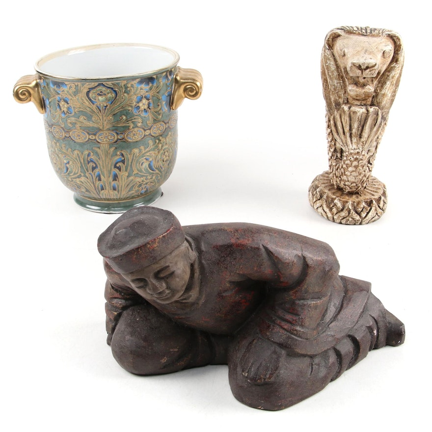 Chinese Gilt Porcelain Urn with Resin Merlion and Wooden Figurine