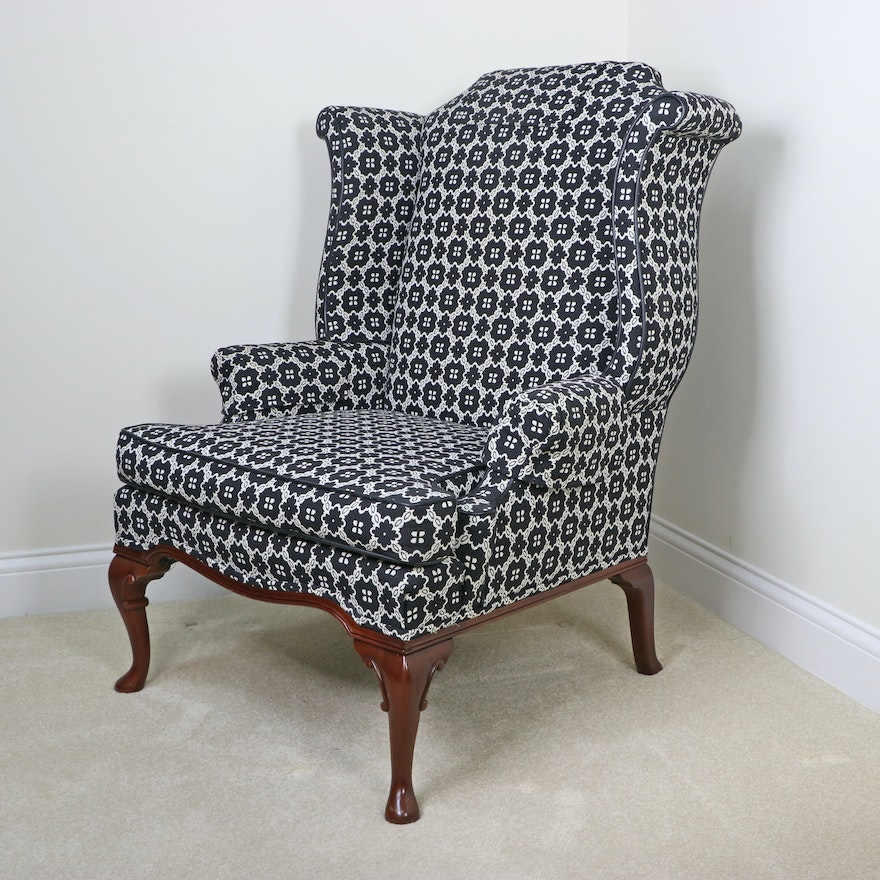 Brandt of Grand Rapids Queen Anne Style Upholstered Wingback Chair