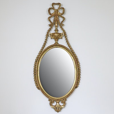 Adam Style Giltwood Ribbon Edged Oval Accent Mirror, Mid to Late 20th Century