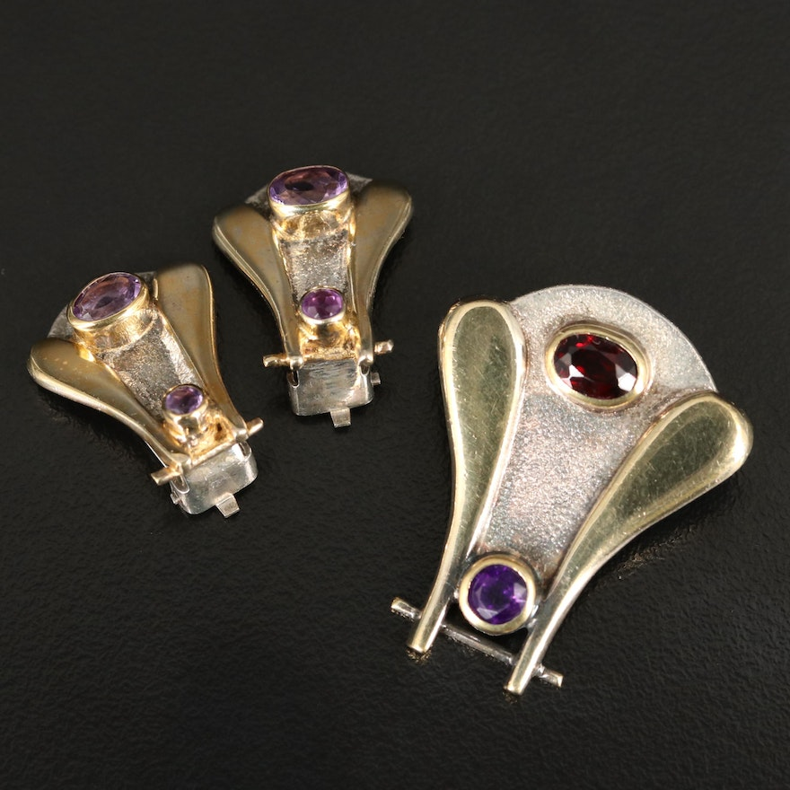 Sterling Silver Amethyst and Garnet Contemporary Pendant and Clip Earring Set
