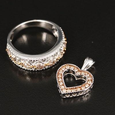 Sterling Silver Diamond Heart Pendant and Diamond Band