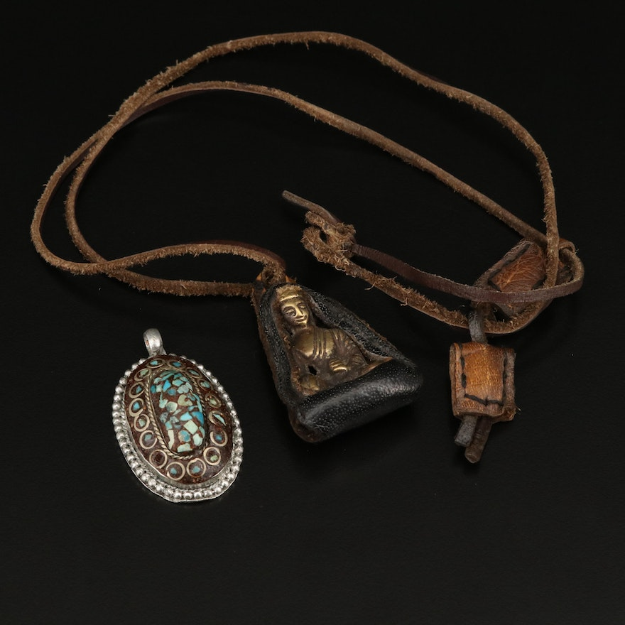 Buddha Pendant Necklace with Indian Chip Turquoise Pendant