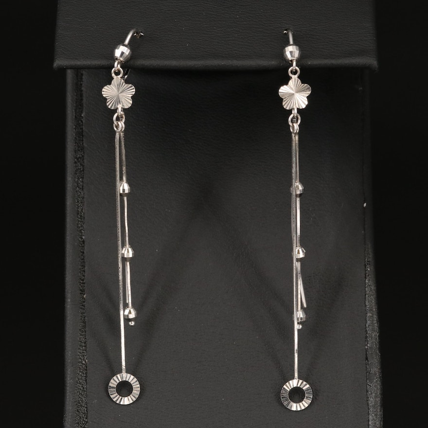 18K Threader Earrings with Beaded Accents