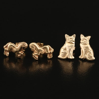 14K Equine and Feline Stud Earrings