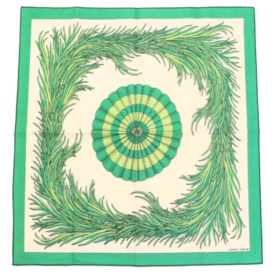 Hermès Grass Motif Printed Cotton Napkin
