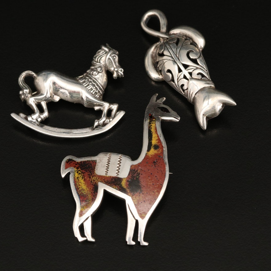 Sterling Jezlaine Cat, Beau Sterling Rocking Horse and Peruvian Llama Brooches