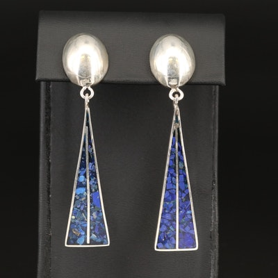 Mexican Sterling Elongated Triangle Drop Earrings
