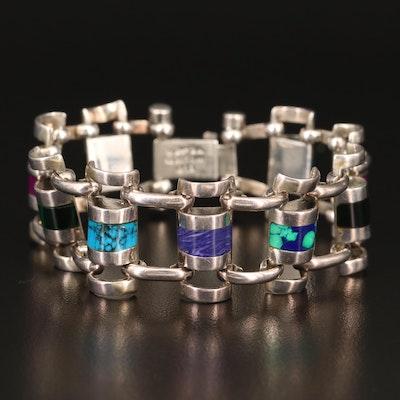 Mexican 950 Silver Gemstone Link Bracelet