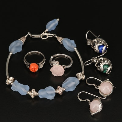 Sterling and 800 Silver Jewelry Including Rose Quartz, Coral and Glass