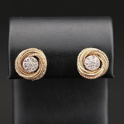 14K Diamond Love Knot Stud Screw Back Earrings