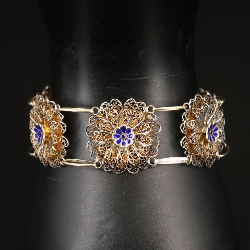 Sterling Silver Filigree Link Bracelet with Enamel Flower Accents