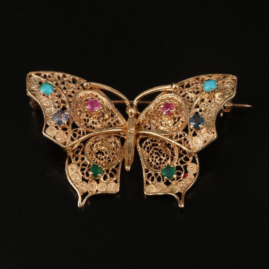 Vintage 14K Multi-Gemstone Filigree Butterfly Brooch