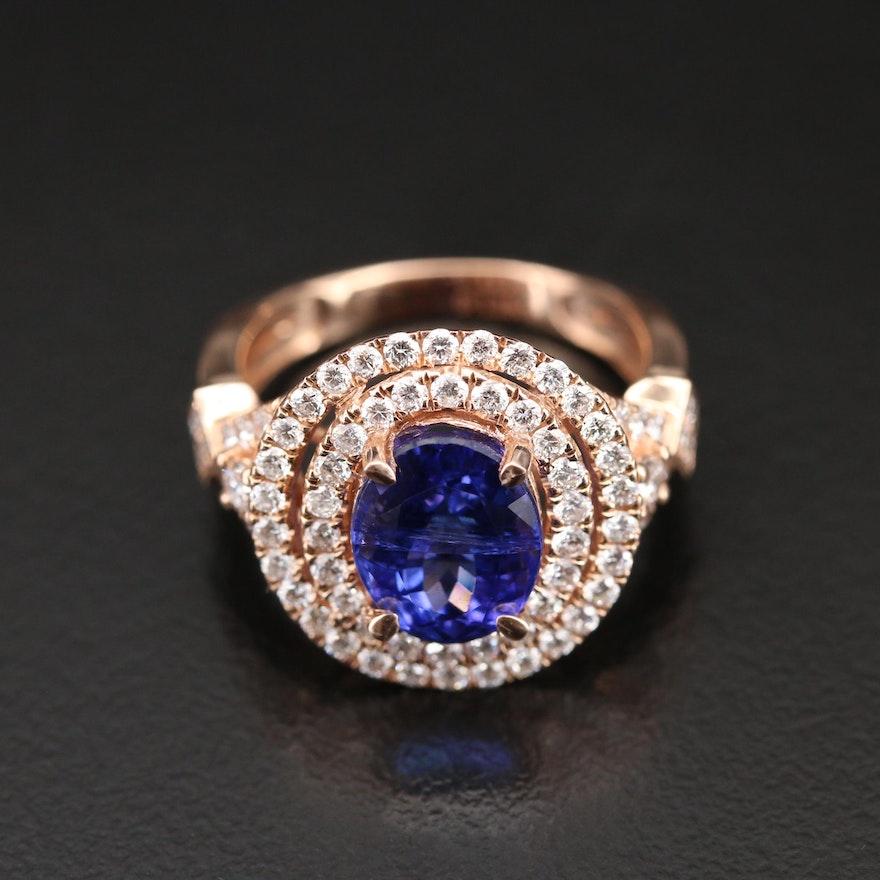 14K 3.63 CT Tanzanite and 1.28 CTW Diamond Double Halo Ring