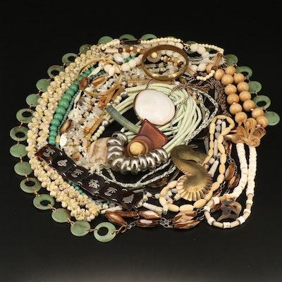 Vintage Costume Jewelry Including Sterling Silver Tortoise Shell Panel Bracelet