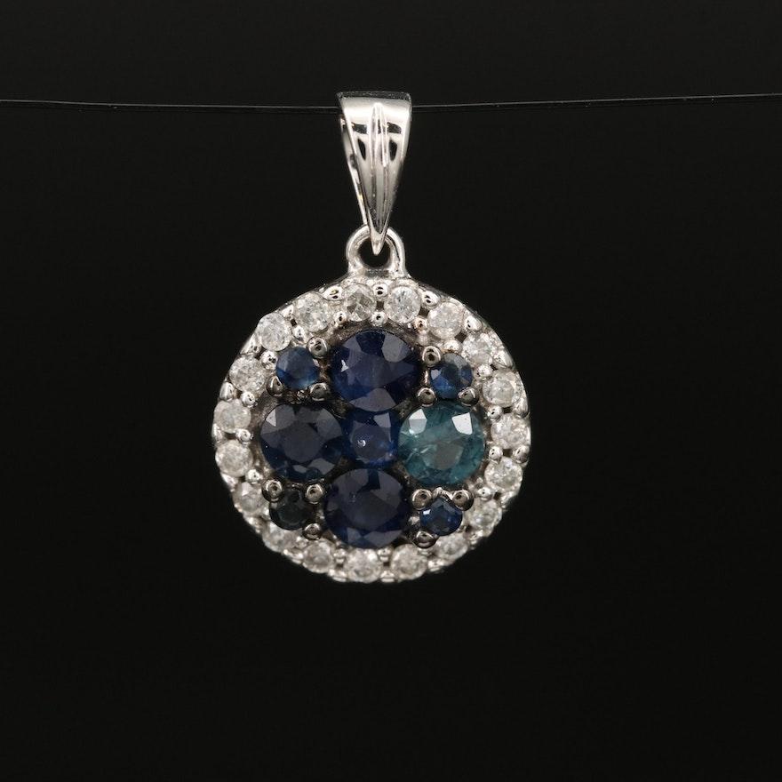 14K Sapphire and Diamond Cluster Pendant