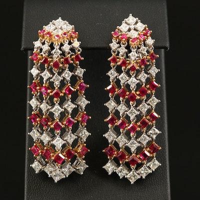 18K 7.26 CTW Diamond and Ruby Waterfall Earrings