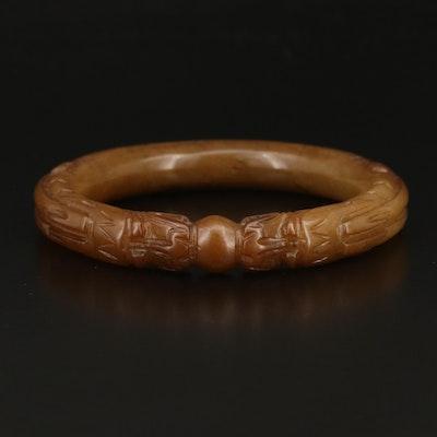 Chinese Serpentine Pixiu Hololith Bangle