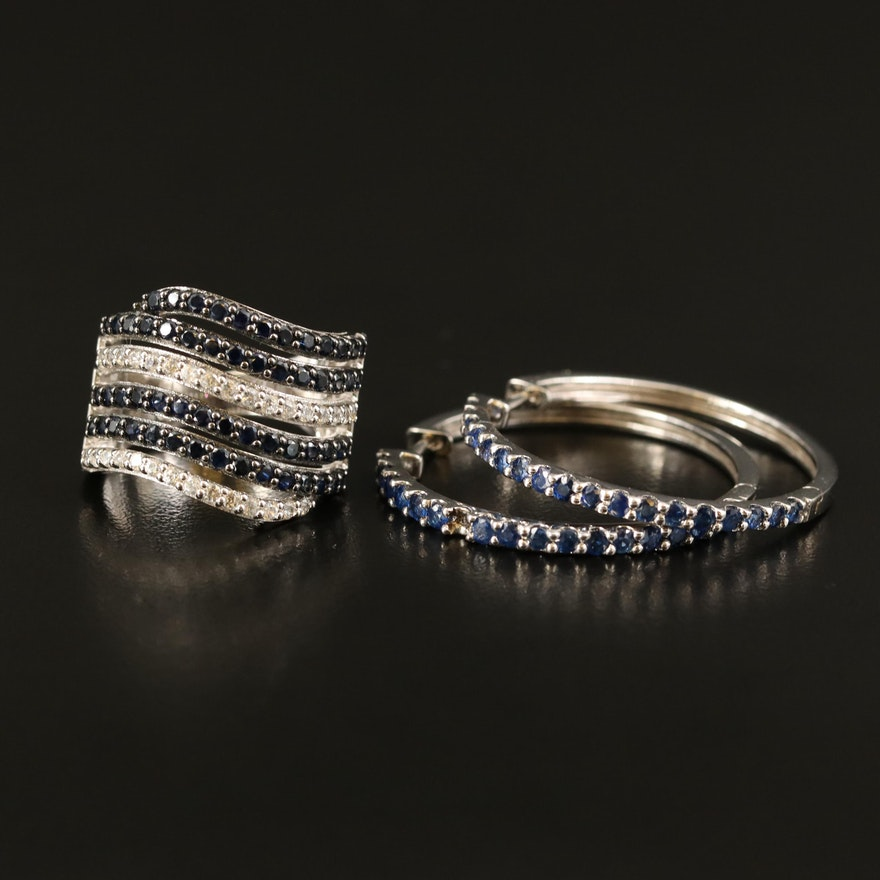 Sterling Sapphire and Zircon Hoop Earrings and Wave Band