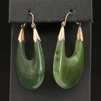 Nephrite Elongated Hoop Earrings