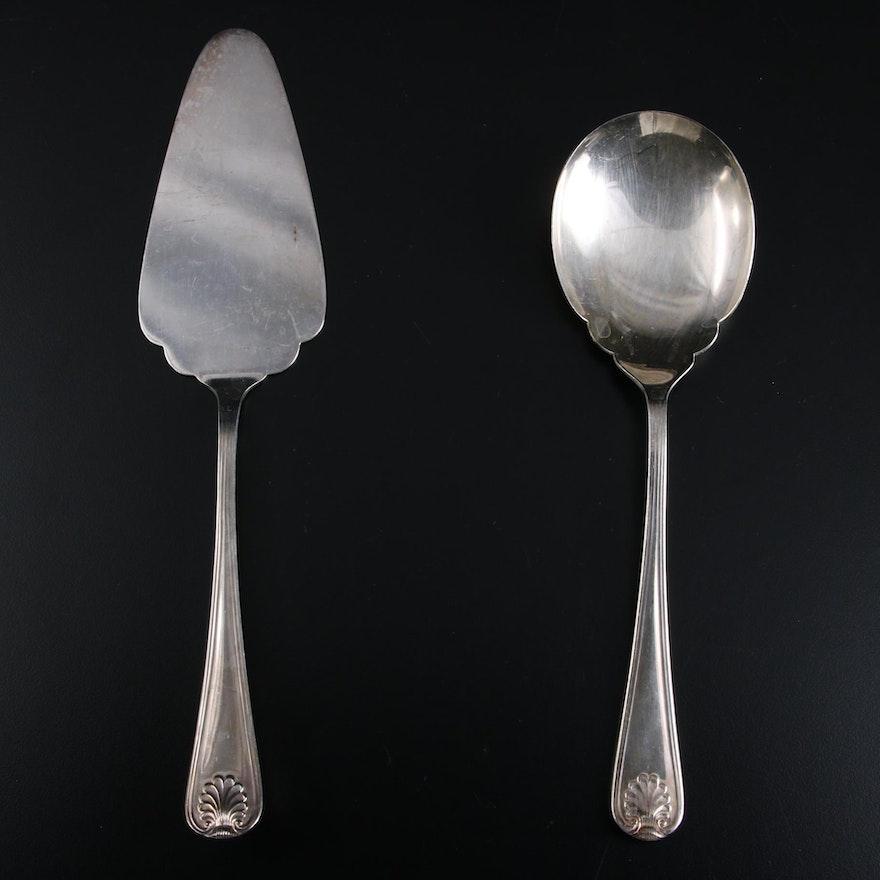Eisenberg-Lozano Sheffield Silver Plate Cake Server and Serving Spoon, Vintage